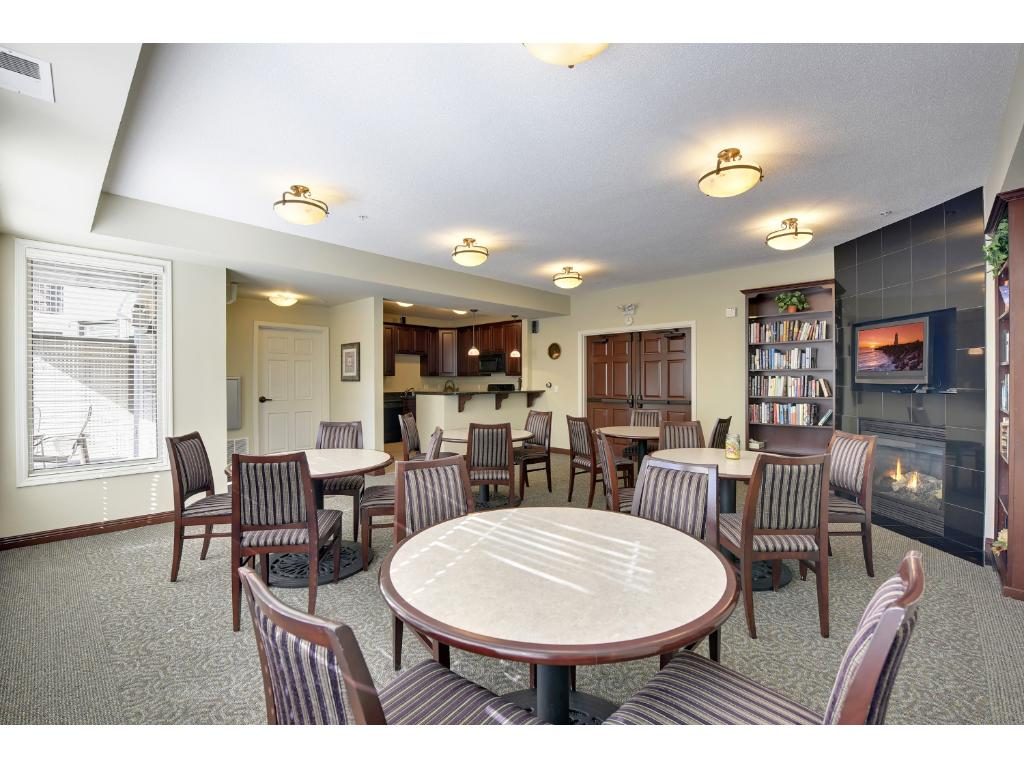 The social room is located on the first floor and features a full caterer's kitchen, a fireplace and plenty of seating for large gatherings