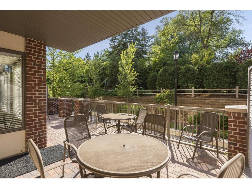 The large shared patio is accessed from the social room and provides a great space to entertain