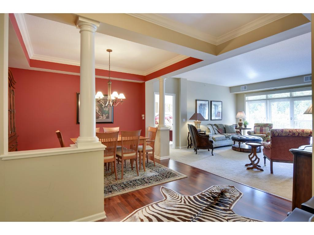 The spacious 12x5 foyer has beautiful cherry wood flooring and provides a great space to welcome guests