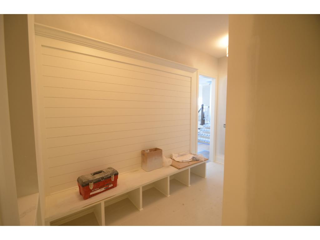 Mud Room With Shiplap Wall, Drop Desk, Walk In Closet, Bench With