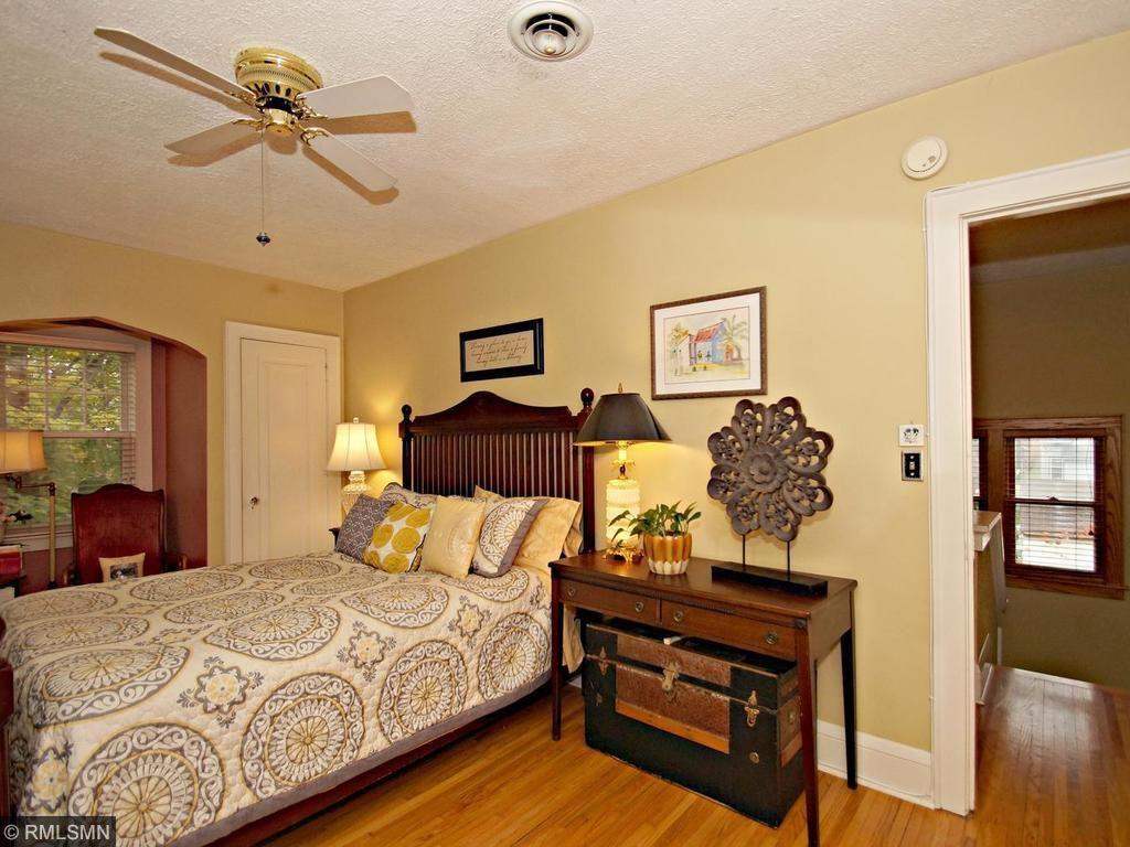 Beautiful master with double closets, fresh paint & hardwood floors.