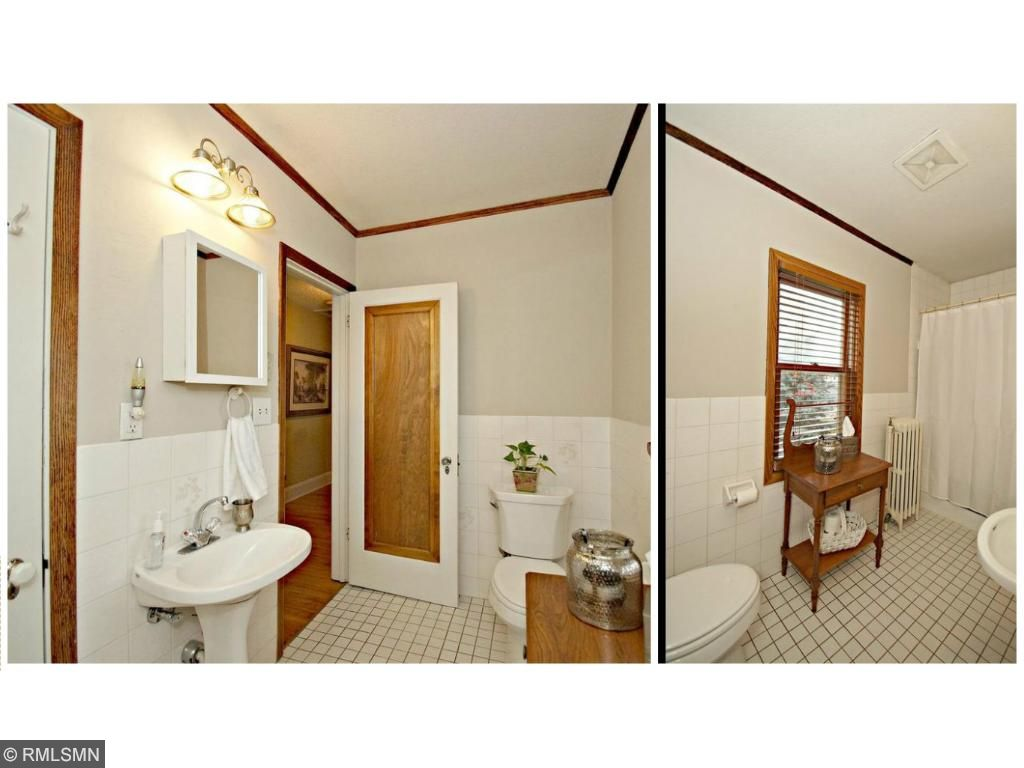 Large upper bathroom with closet inside for all your toiletries, fresh paint!