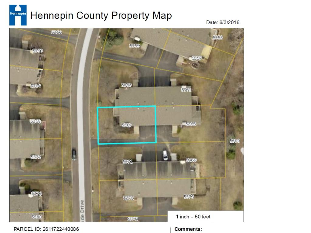 Here is an aerial view of the property. Ownership of the lot provides opportunities to customize landscaping