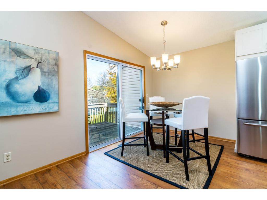 The dining area is a necessity for entertaining. It opens to the Kitchen and includes a sliding glass door that opens to the Deck