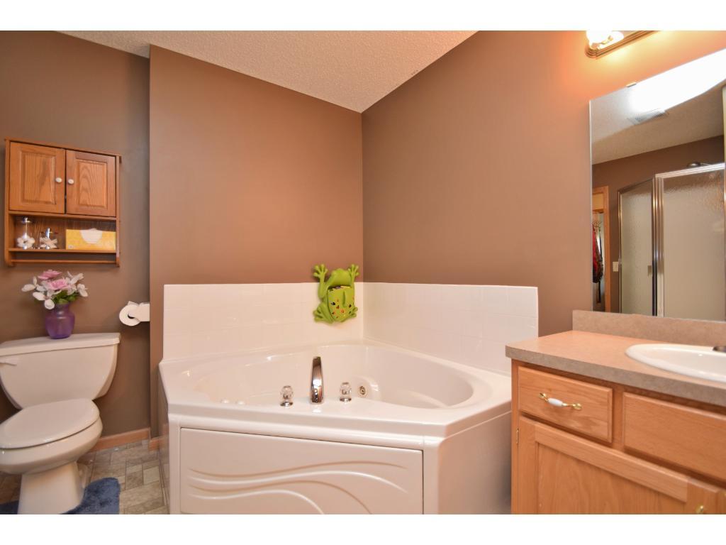 Master walk-thru bath w/ separate whirlpool tub & shower.