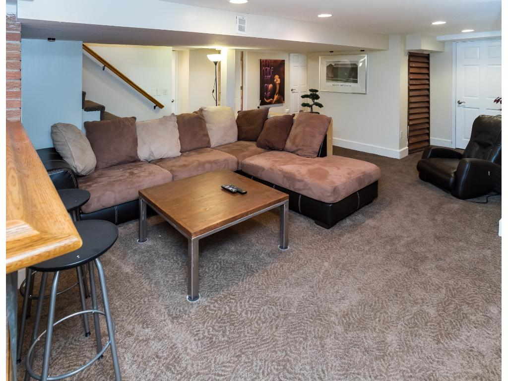 Awesome lower level family room with bar area, office, full bath and tons of storage!