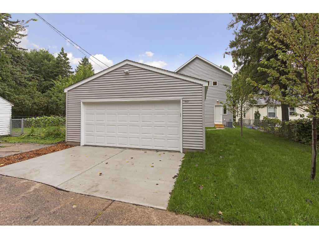 Brand new 2 car garage. 7 X 6 door accommodates large vehicles. New concrete driveway makes creates an easy way to enter & exit the garage.