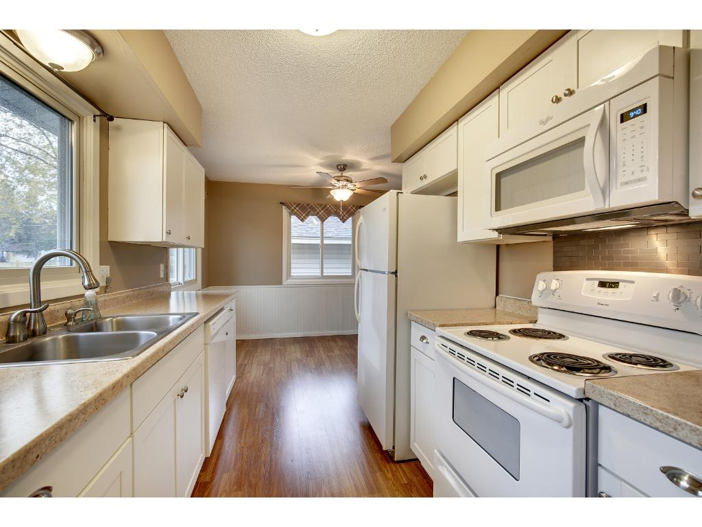 The galley style kitchen is one of the easiest to cook in with range, fridge and sink arranged for efficiency.