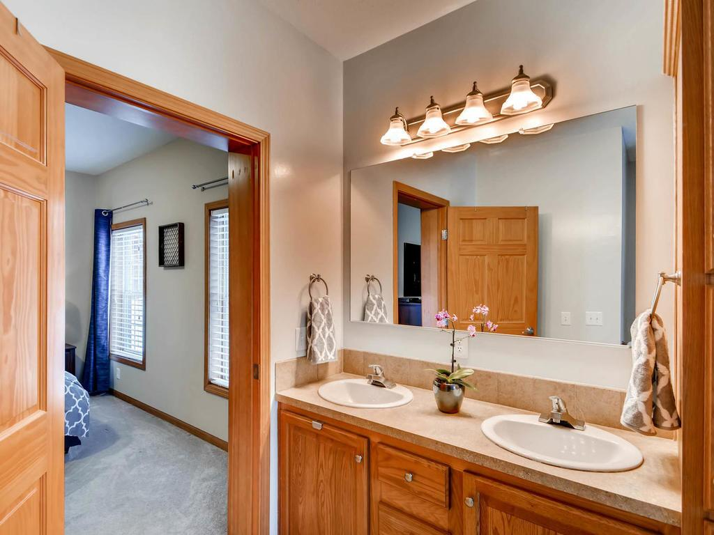 Private master bathroom with double sinks