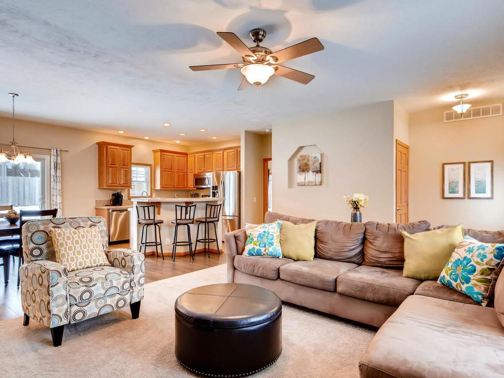 The main level living/dining/kitchen area is spacious and open - perfect for entertaining!