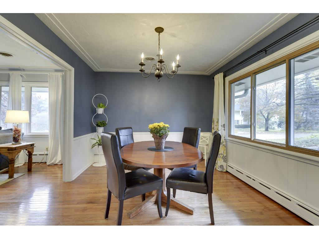 Formal Dining Room with beautiful oak floors.