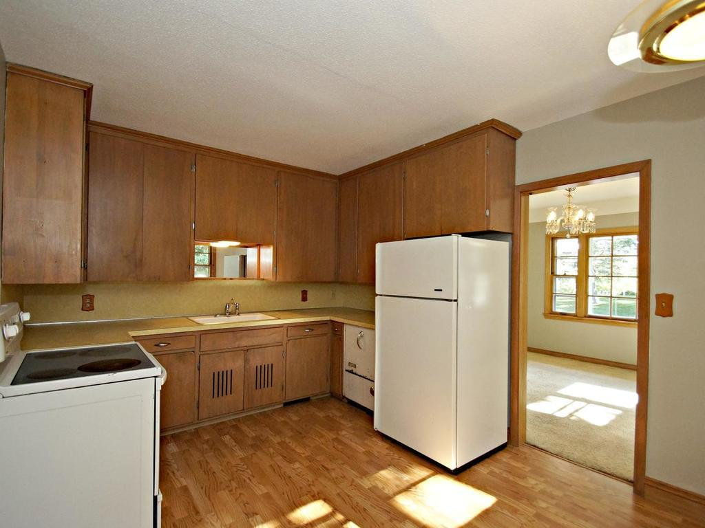 Kitchen has extra space for an eat in area.