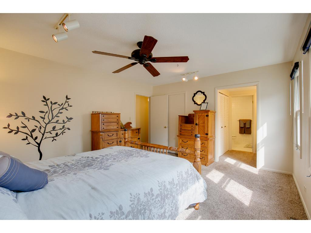 Large master bedroom with 2 closets and private master bathroom and Vanity