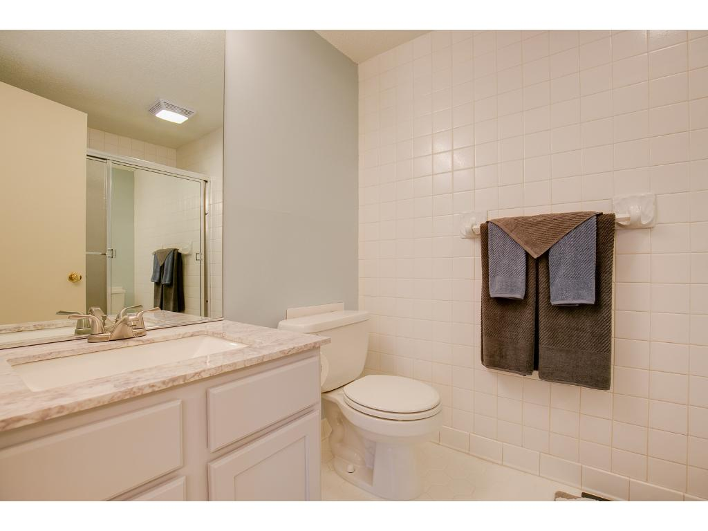 Master bathroom with new vanity, and ceramic tile