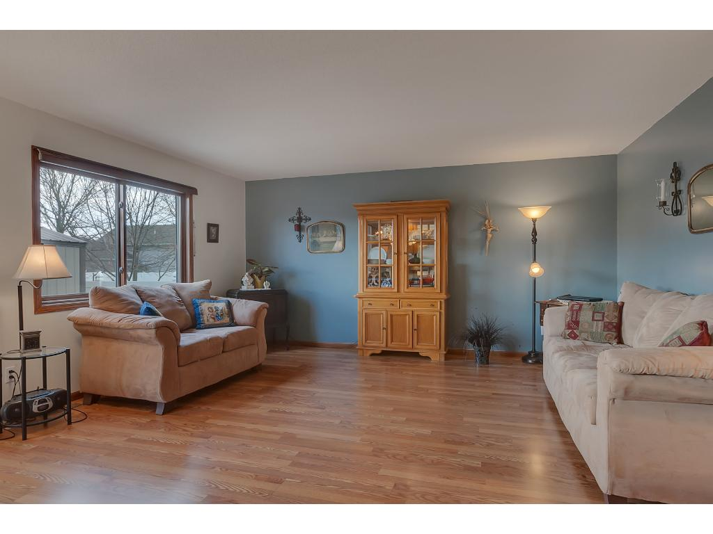 The large picture window in the living room provides you with great views into the backyard.