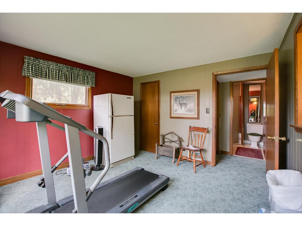 Lower Level Bedroom, currently used as workout room