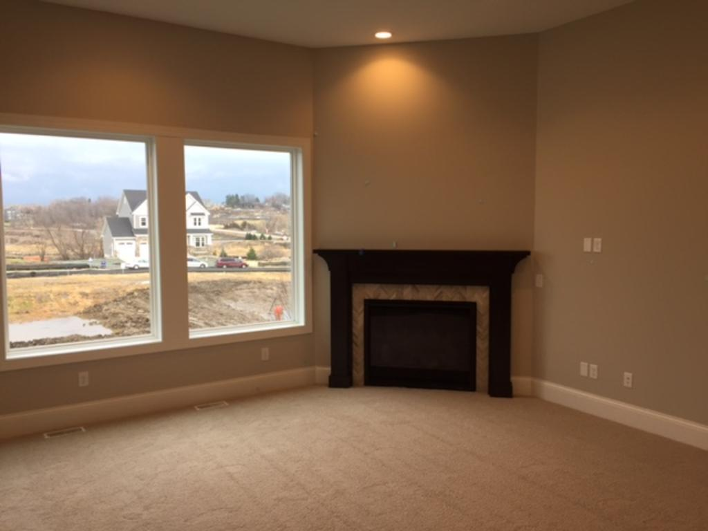 The main floor family room with gas fireplace