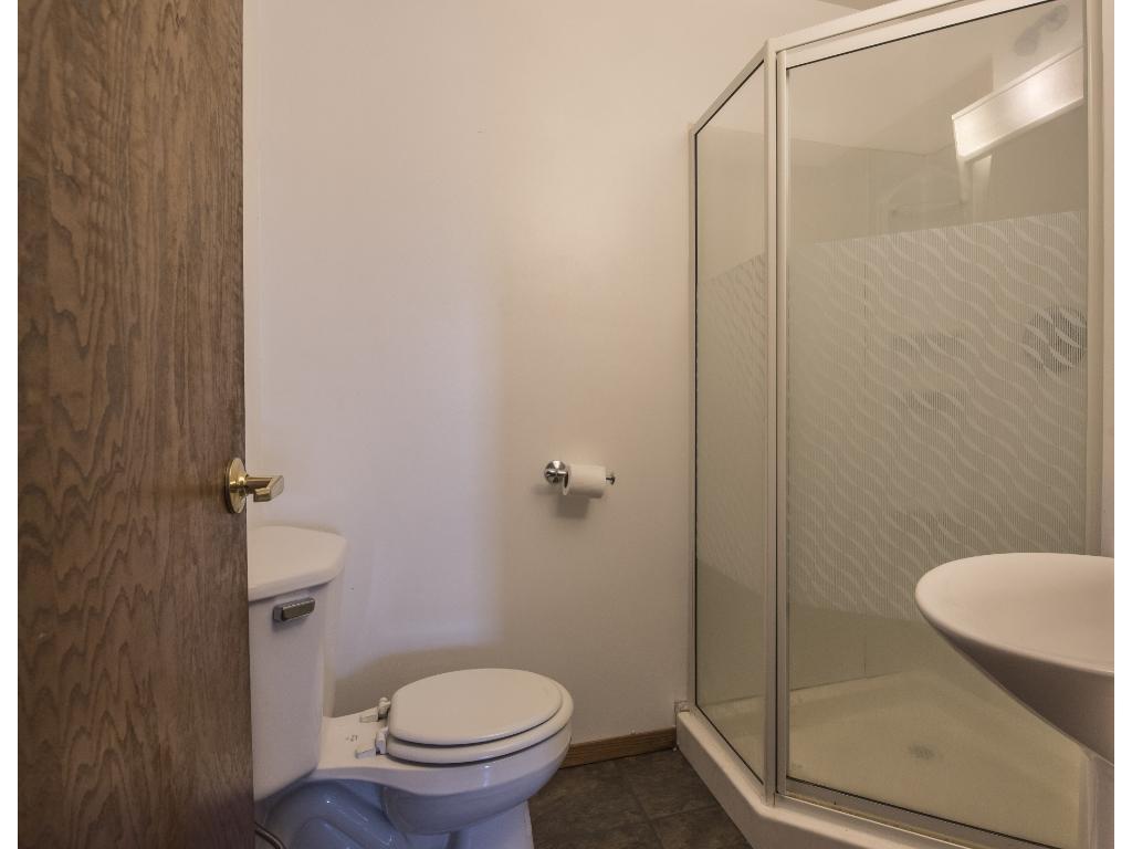 Main floor bathroom was added to the floor space.   Bathroom off the dinning area.
