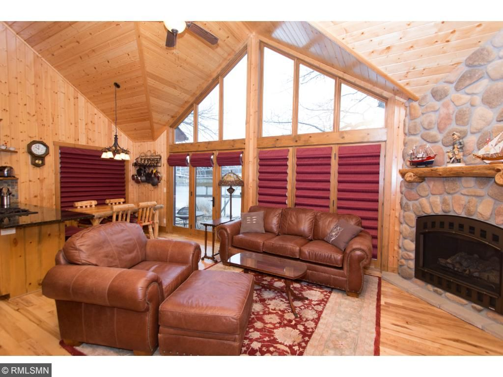 Knotty pine throughout and beautiful hickory hardwood flooring.
