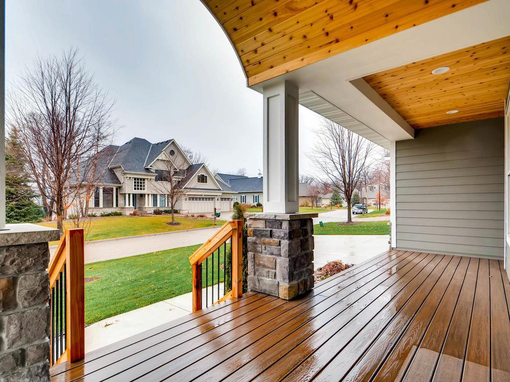 Cedar porch with maintenance free decking