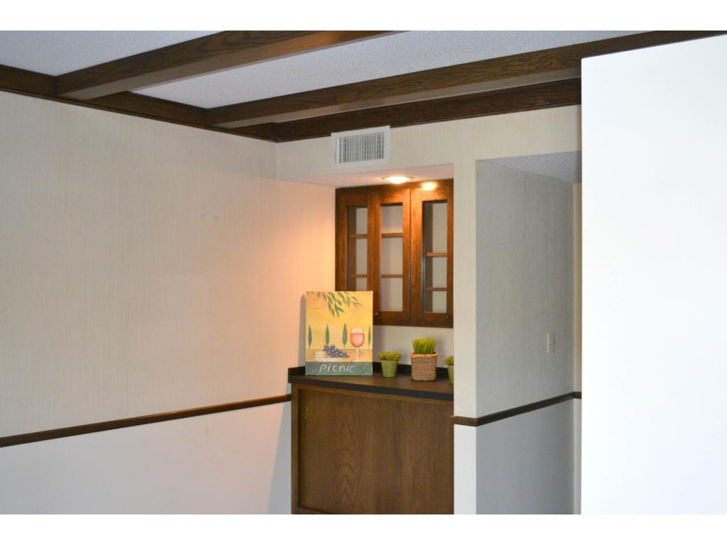 Custom built-ins in the second bedroom---a warm space which could also be a library or den.