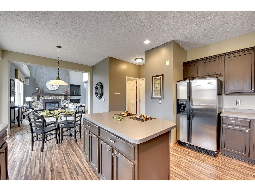 Open floor plan and views of Great Room from kitchen.