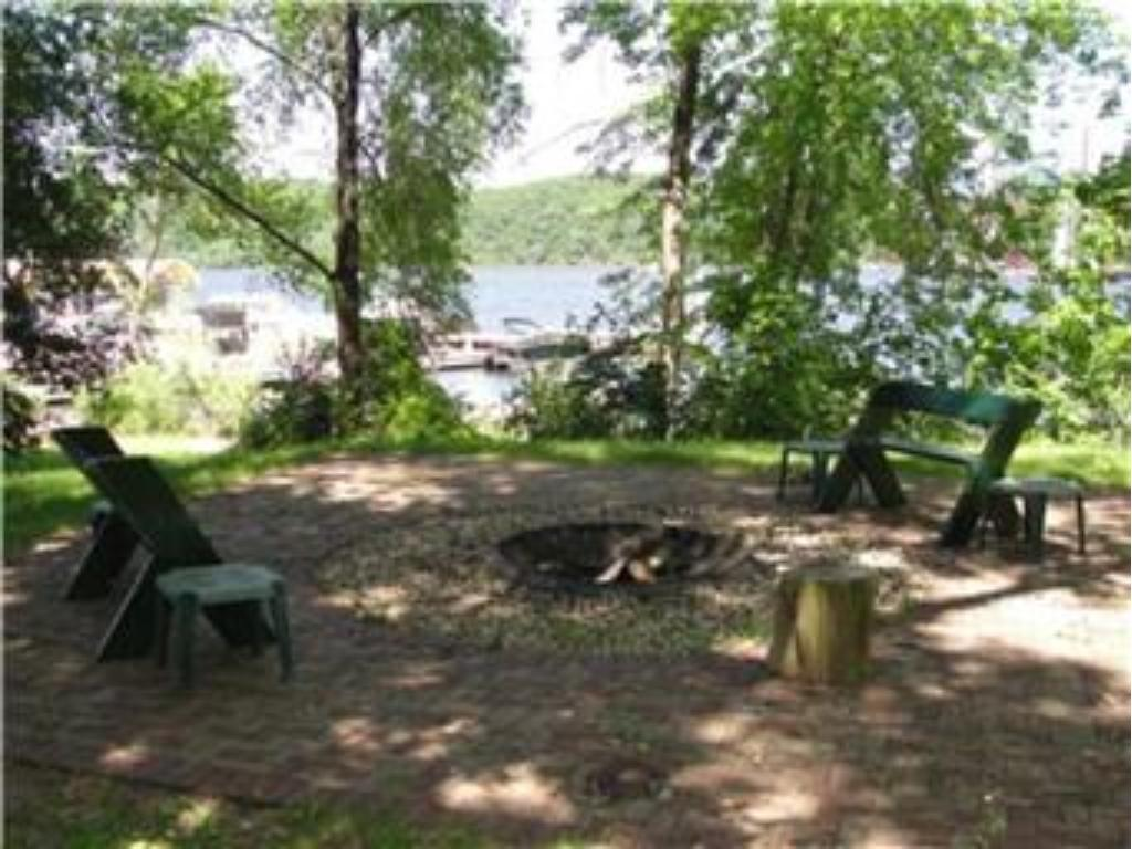 Fire pit area near the river.