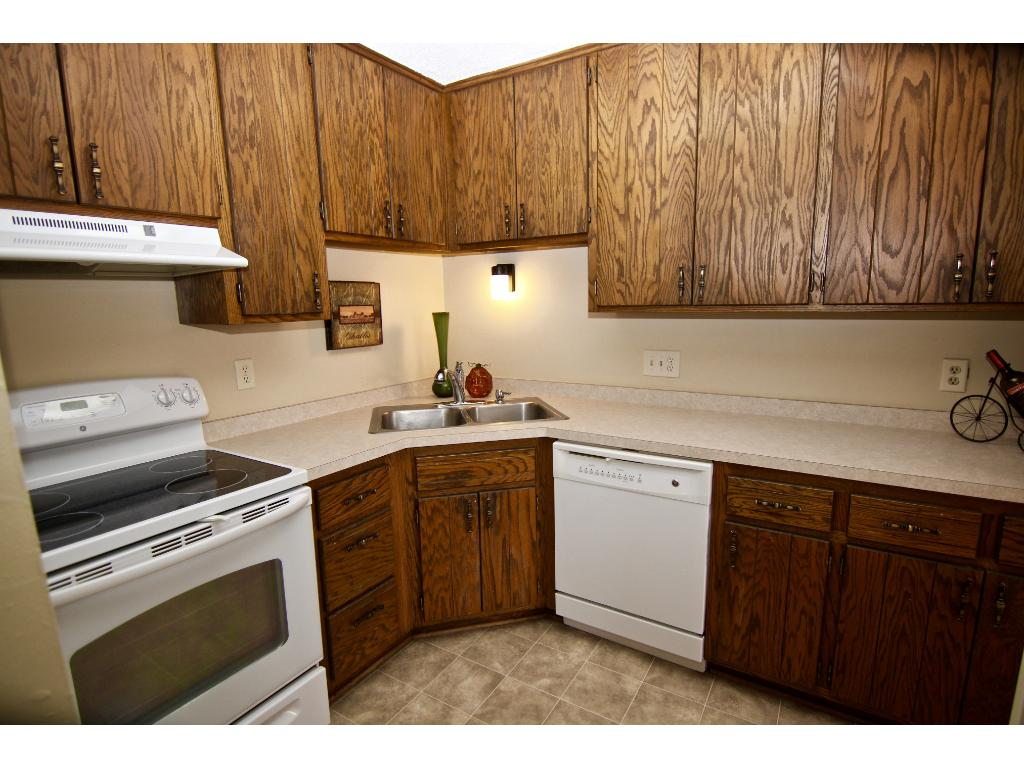 Kitchen with dishwasher & ample cupboard/counter space.