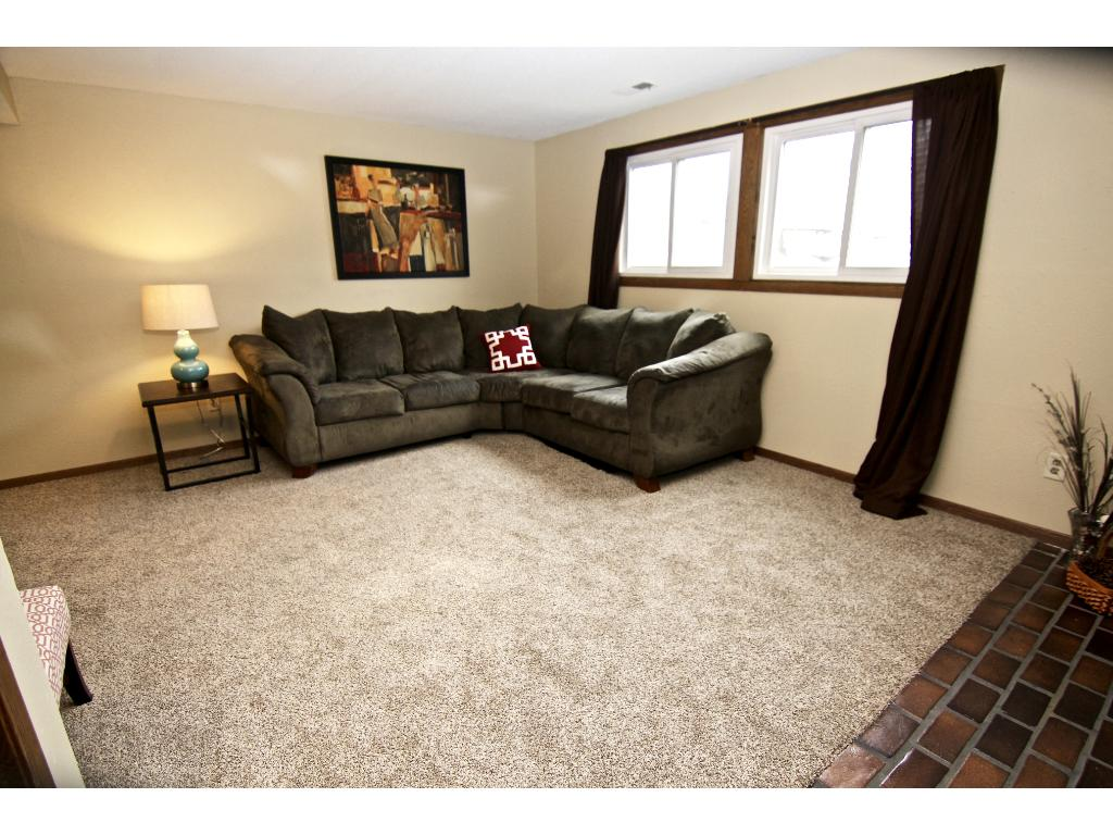 Large family room in lower level with new carpet!