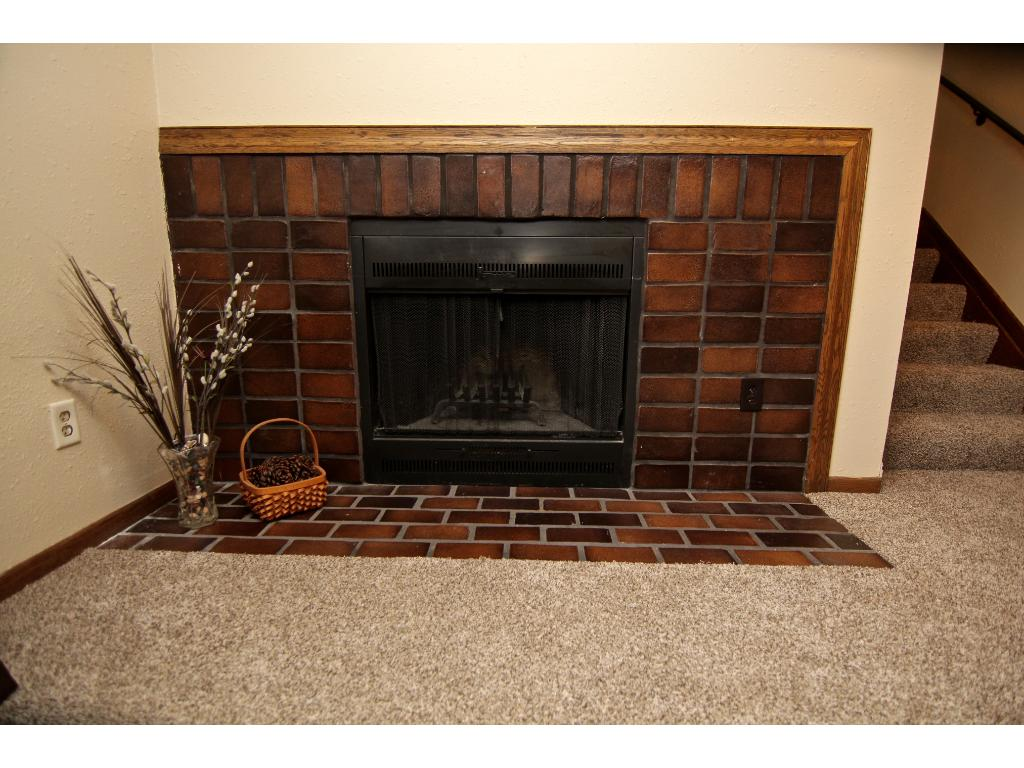 Fantastic wood burning fireplace with cool retro tile.
