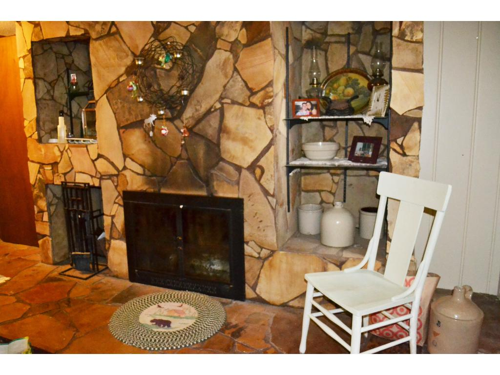 Family room in lower level with wood burning fireplace and a dry bar