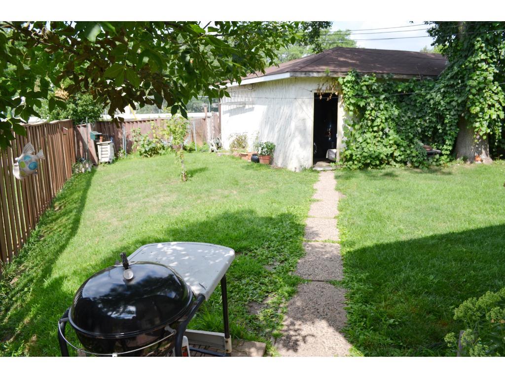 Back yard and 2-car detached garage