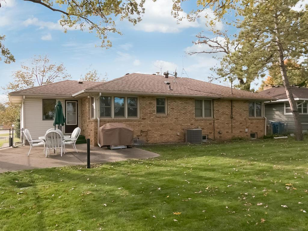 Well-cared for lot with a private patio and mature trees.