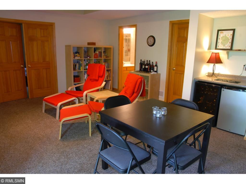 Lower level family room. Small wine and beverage fridges to stay.