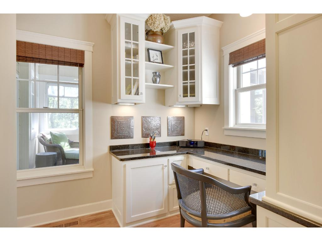 This built-in desk area off the kitchen is ideal for keeping the family organized or a quiet nook for homework.
