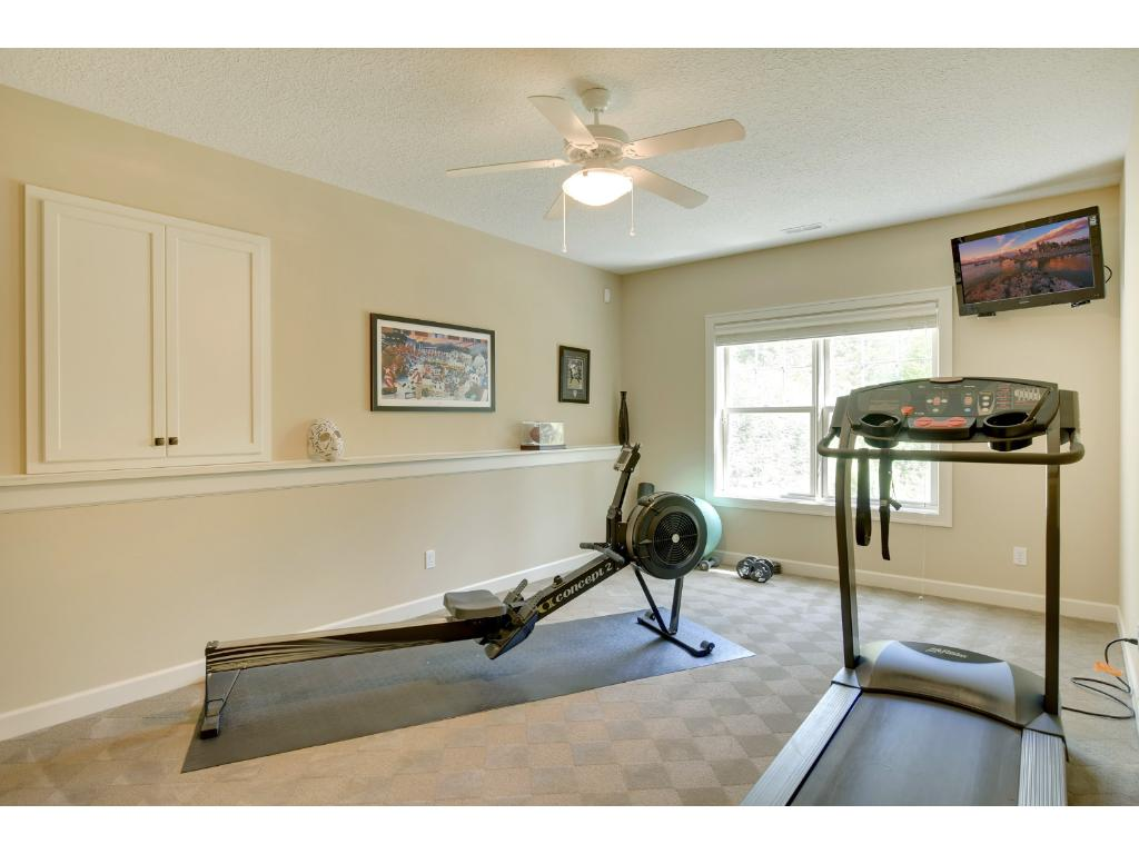 In addition to the sport court, the lower level offers an exercise room as well.