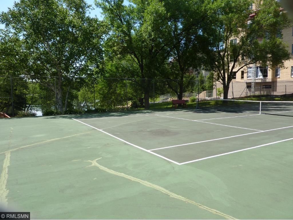 Tennis court and shuffleboard area