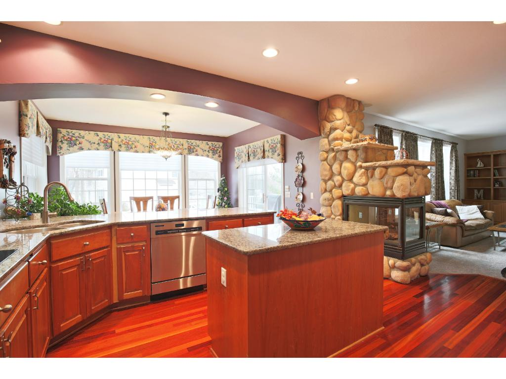Generous and updated kitchen opens to great room.