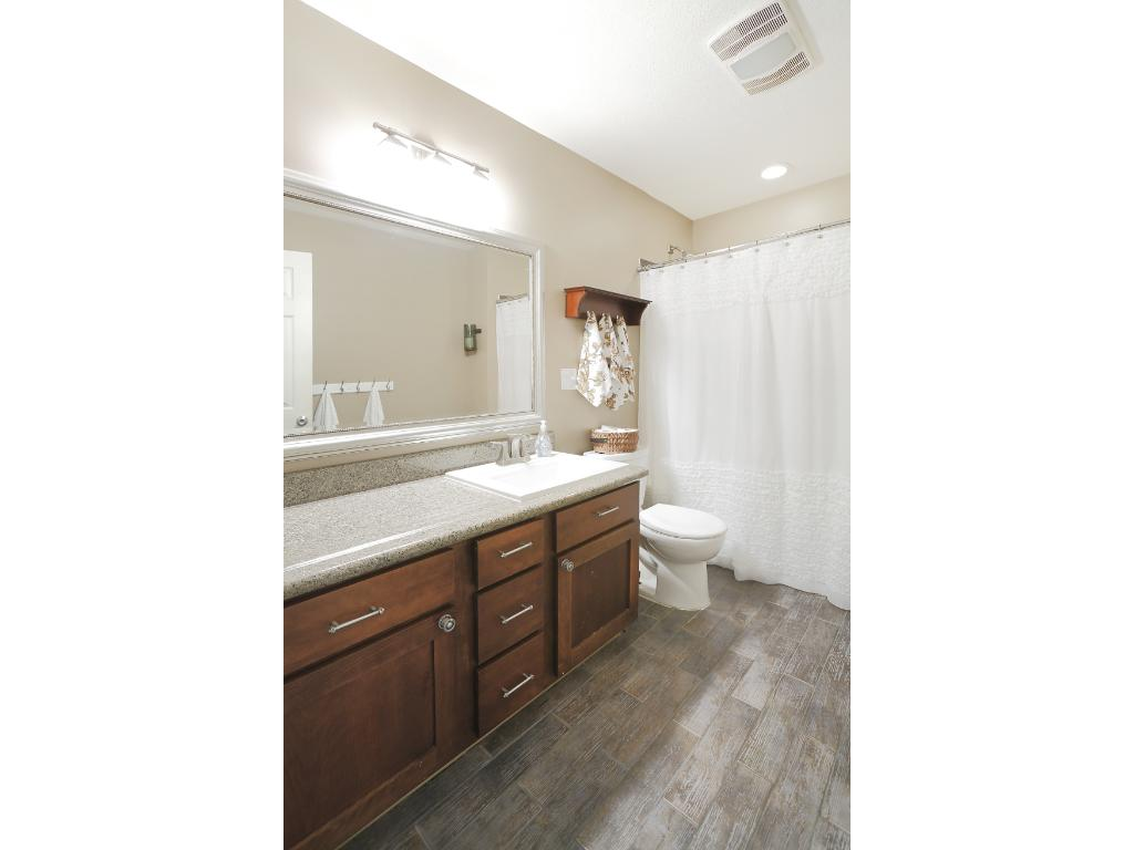 This home boasts 2 full baths, 1 on the main level and 1 on the lower level.