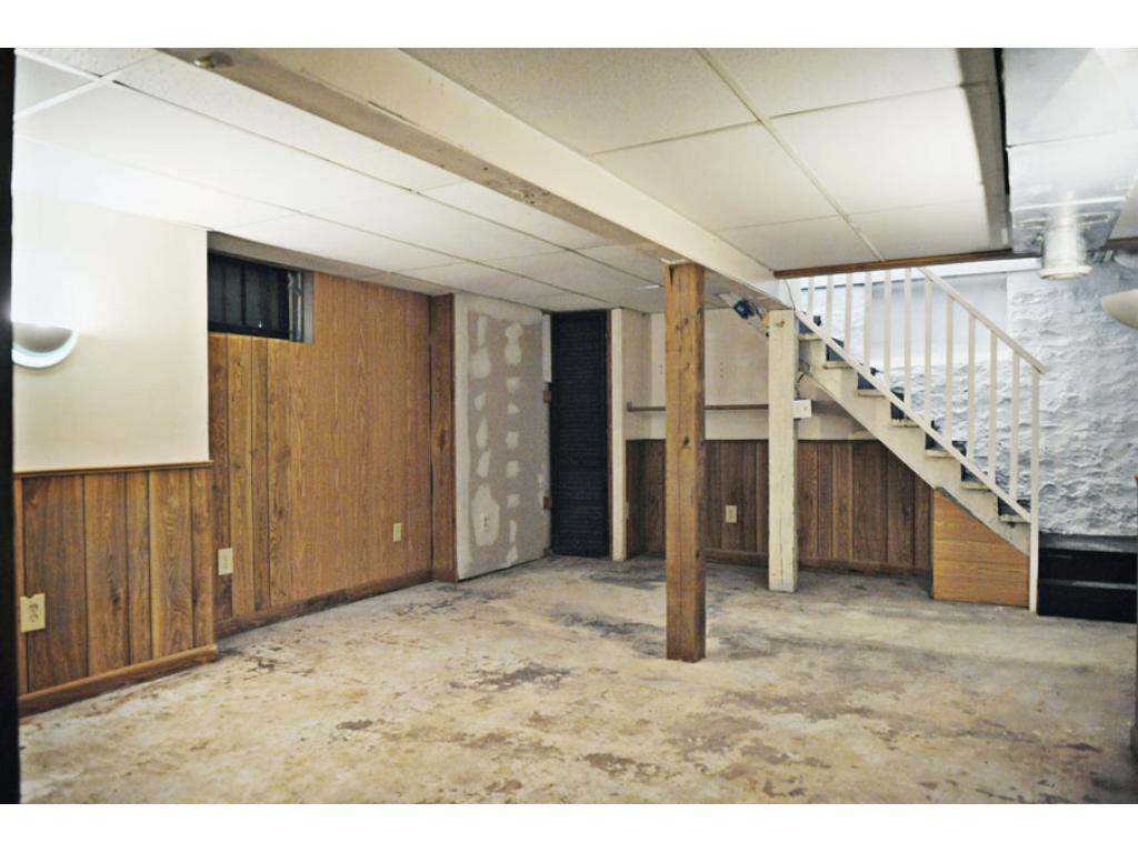 huge unfinished basement provides more enough storage