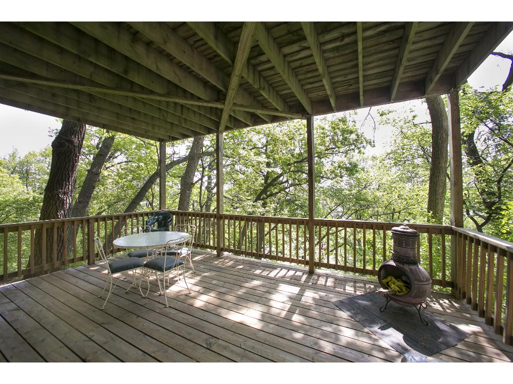 Lower Level Deck off Family Room.  Use is as a play area.  Better yet, screen it in and enjoy Minnesota outdoors!