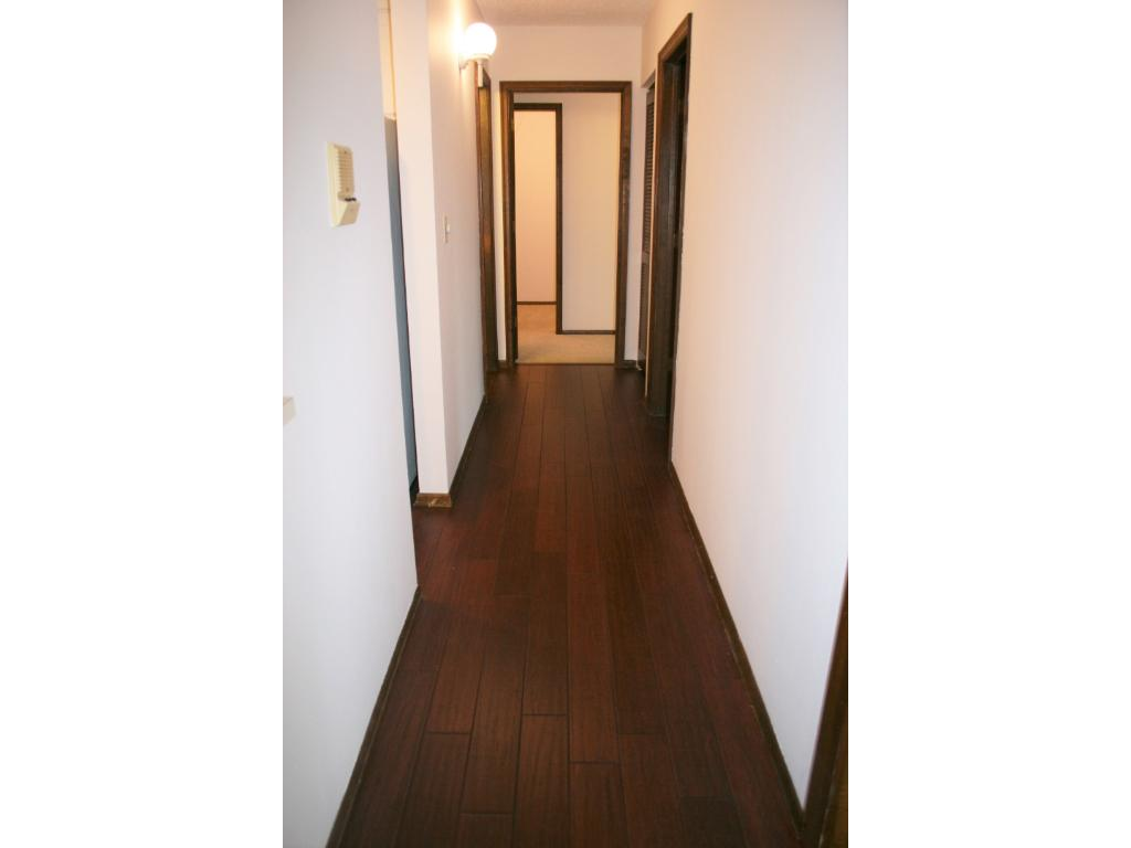 Check out those fantastic new floors! Hallway leading to master BR with large walk-in closet.