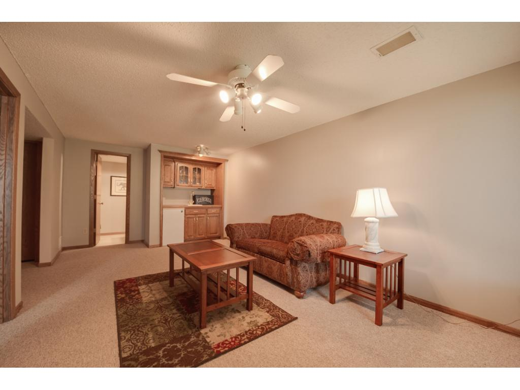 Lower level family room has a walkout to the backyard and lake!