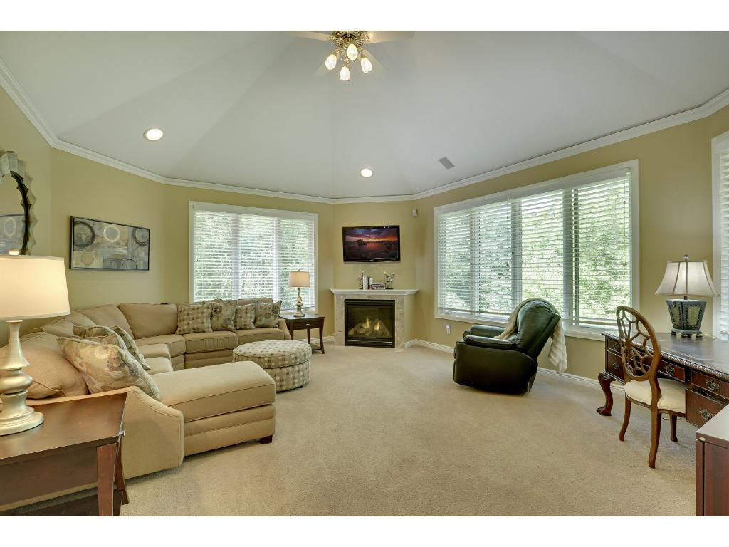 My favorite room!  This is a main floor family room just off the kitchen.  Gas fireplace and windows all around looking over the back yard.  This would be a nice place in the morning to have your coffee and catch up on e-mails.