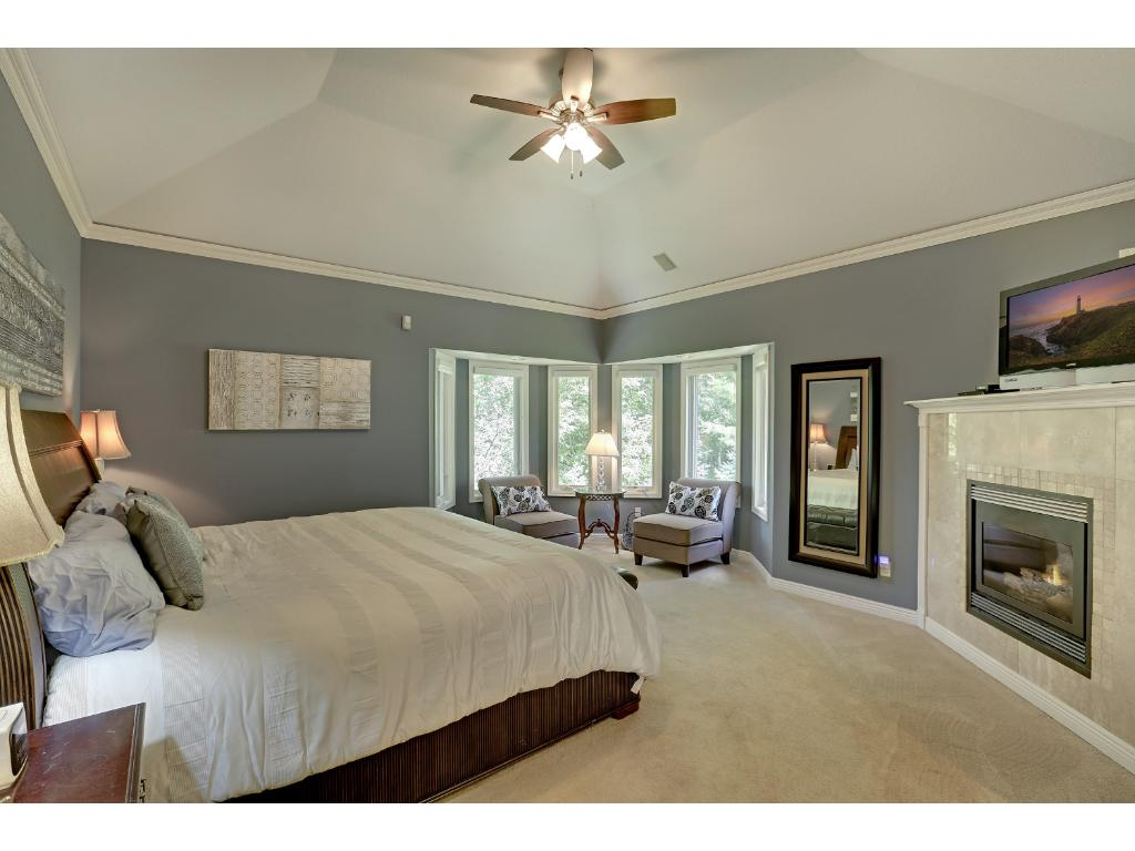Enter into this main level Owner's Suite.  Tray vault ceiling, gas fireplace to warm those fall nights, sitting area looking over the back yard.  Very romantic!