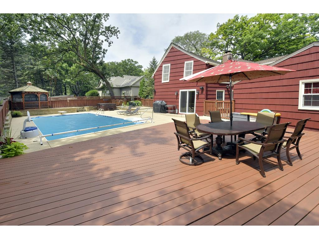 The private back yard is complete with a pool, hot tub and gazebo.  It is truly an entertainers dream!