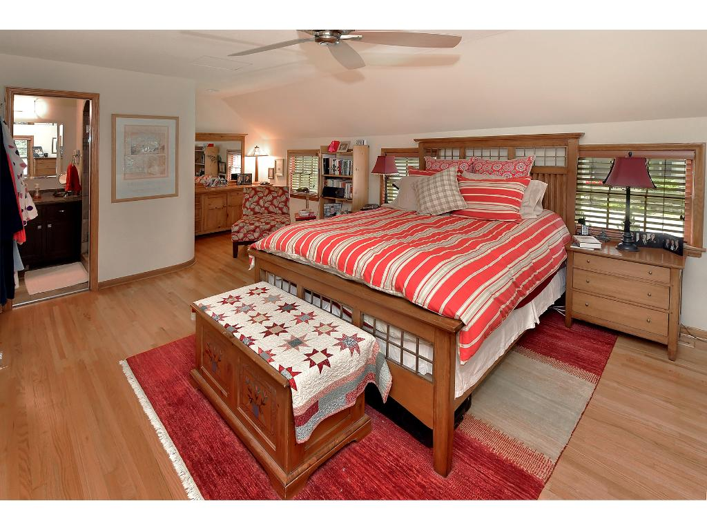The owners suite has hardwood floors, his/hers closets and an updated 3/4 bath!