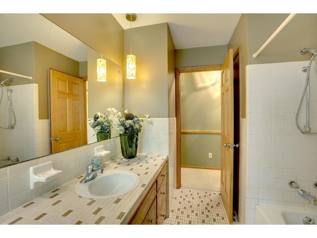 Main floor bath - tile floors and counter - lovely!