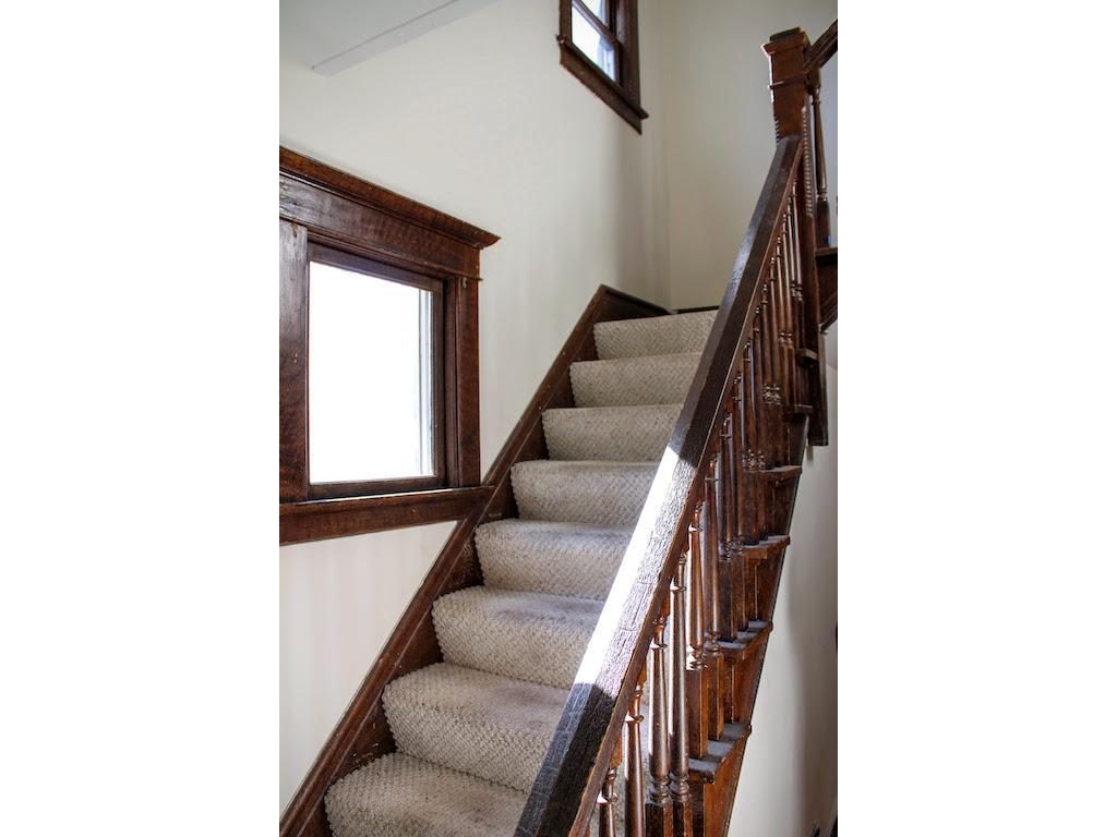 Original, open staircase.