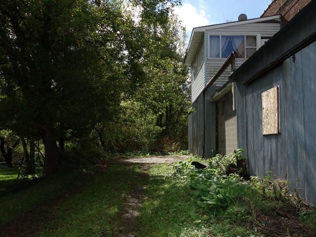 East side driveway - has cement parking pad & 2 sliding doors for unloading.  Gateway to 1 acre backyard (overgrown).